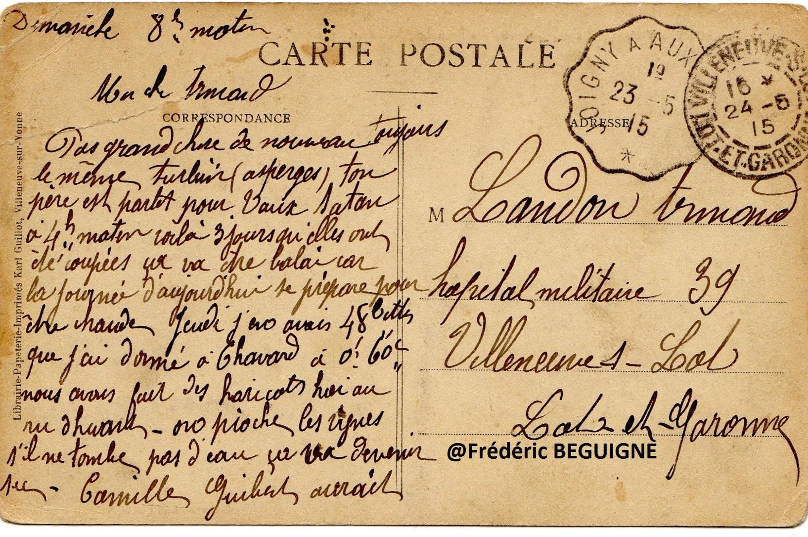 CPA de la collection de Frédéric BEGUIGNE, arrière petit-fils de THOURIGNY Auguste Paul